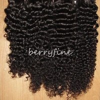 2/3/4/5pc Virgin Mongolian Kinky Curl Hair Wefts Lace/Silk Closure Extension Lot