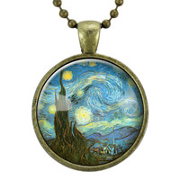 Vincent van Gogh The Starry Night Necklace On Bronze