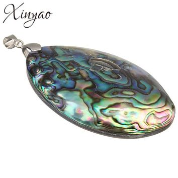 XINYAO Vintage Silver Color Abalone Shell Pendants Charms 60*39mm Natural Mother of Pearl Shell Pendants For Jewelry Making