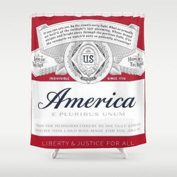 America Beer Shower Curtain by Neon Monsters