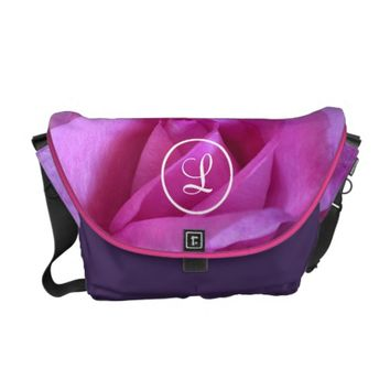 Pink rose photo custom monogram messenger bag