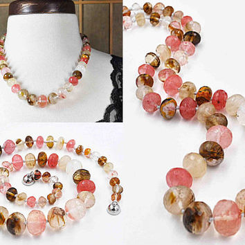 Vintage Cherry Tigerskin Quartz Glass Bead Necklace, Graduated, Hand Knotted, Faceted Rondelle, Multi Color, 20 In., Amazing! #c200