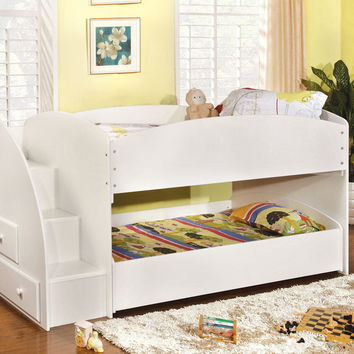 Furniture of america CM-BK921WH-T Merritt white finish wood twin over twin short style bunk bed with pull out trundle bed on bottom with stairs