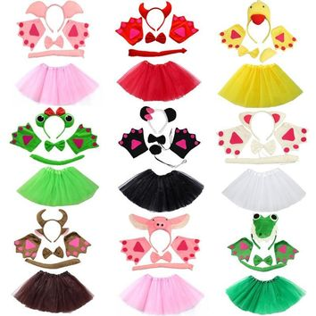 Cool Assorted Animals Headband Bow Tie Tail Paws Gloves Tutu Skirt Set Cosplay Costume Accessories Kids Party Dress Up PropsAT_93_12