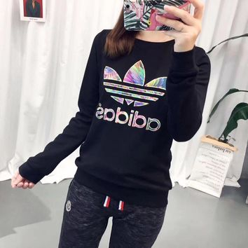 adidas fashion multicolor logo pullover sweatshirt top sweater