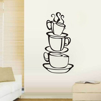 3 coffee cups creative wall decal removable vinyl wall sticker DIY home decor wall art kitchen wallpaper