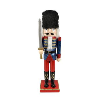"14.25"" Decorative Wooden Blue Red and Gold Glittered Christmas Nutcracker Soldier with Sword"