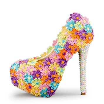 Colorful Lace Flower Wedding Shoes Multicolor Pearl High Heel Banquet Pumps Handmade Cinderella Prom Party Shoes Multicolor