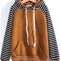 Contrast Stripe Raglan Sleeve Hooded Sweatshirt -SheIn(Sheinside)