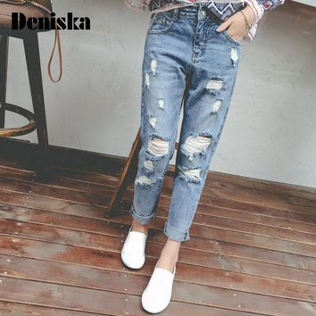 DENISKA Princess summer 2017 preppy style high waist hole jeans beggar pants female loose skinny pants harem pants
