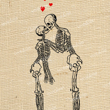 Skeleton Love Hearts Kissing Halloween Image Transfer Printable Digital Download For Pillows Totes Aprons Scrapbook Tags Greeting  Cards