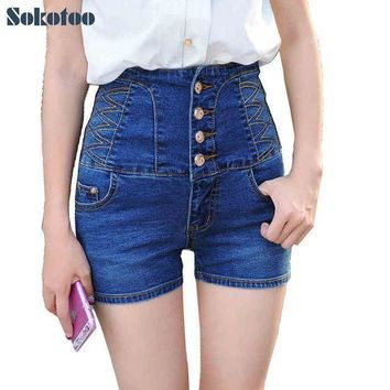 Sokotoo Women's Summer Casual High Waist Buttons Stretch Denim Shorts Lady's Plus Large Size Slim Skinny Jeans