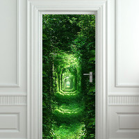 "Door wall sticker forest green tunnel rabbit hole wanderland self-adhesive poster, mural, decole, film 30""x79"" (77x200 cm)"