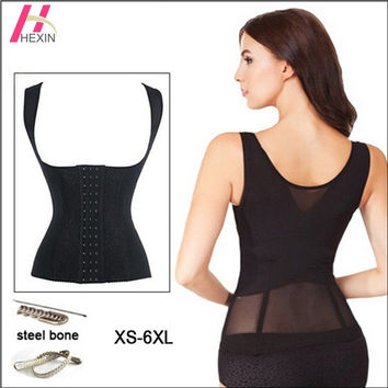 HEXIN Womens Body Shaper Corset Lace Floral Waist Trainer Corset Vest Black Beige Steel Boned Shaperwear Plus Size Waist Training Vest = 1697059460