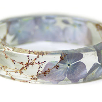 Flower Jewelry -Real Flower Jewelry- Jewelry with Real Flowers -Purple Dried Flowers- Purple Flowers-Resin Jewelry -Purple Bracelet