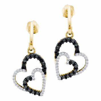 10kt Yellow Gold Women's Round Black Color Enhanced Diamond Double Heart Dangle Screwback Earrings 1-2 Cttw - FREE Shipping (US/CAN)