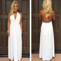 Halter Summer White V-Neck Evening Gowns Backless Maxi Dresses Prom Dresses Formal Occasion Gowns Party Gowns