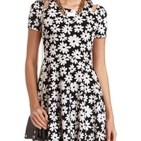 FLORAL PRINT COLD SHOULDER SKATER DRESS