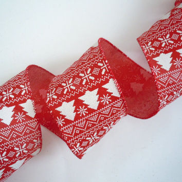wired christmas ribbon decorations white christmas tree red rust