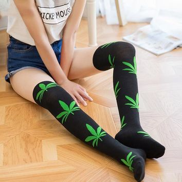 Knee High - Pot Leaf Socks