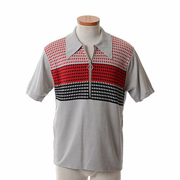Vintage 60s Mens Donegal Coleseta Knit Polo Shirt 1960s Atomic Graphic Print Checks Zip Front Sweater Shirt / Medium