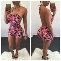 2016 New Fashion Women's Clothing Jumpsuits Playsuits Summer Style Hot Pop Flower Printed leaky back Sexy nightclub Bodysuits