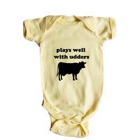 Plays Well With Udders Cow Cows Farm Farms Farmer Animal Animals Mammals Mammal Pun Puns Play On Words Funny SGAL9 Baby Onesuit / Tee