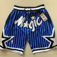 1994-95 Orlando Magic Vintage Embroidered Pocket Zipper Ball Pants - Blue