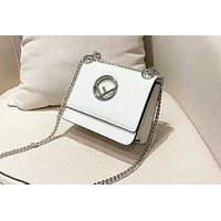 Fendi Women's Classic Casual Cutout F Design Flap Chain Shoulder Crossbody Bag White