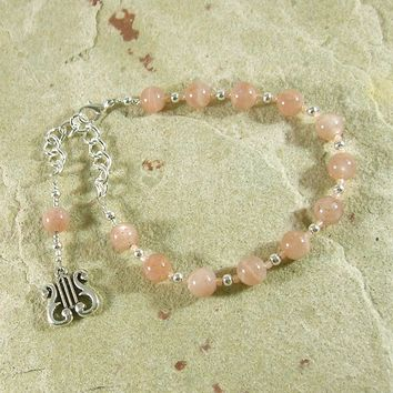 Apollo Prayer Bead Bracelet in Sunstone: Greek God of Music and the Arts, Health and Healing