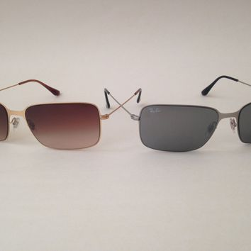 New Ray-Ban Highstreet Navigator Wire Sunglasses Rectangle Gold Silver rb3514
