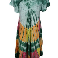 Mogul Interior Elina Women Sundress Embroidered Tie-Dye Cap Sleeves Uneven Beach Coverup Holiday Maxi Dress