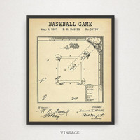 Baseball Game Field Blueprint Art, Patent Prints, Digital Download, Baseball Fan Gifts, Baseball Sports Room Decor, Boys Room Wall Art, MLB