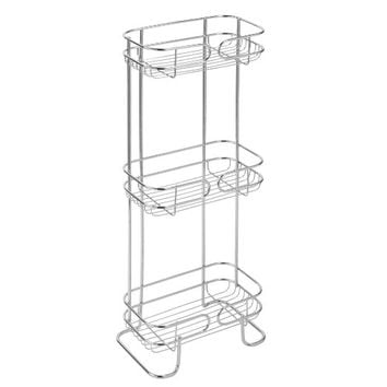 mDesign Free Standing Bathroom Storage Shelves for Towels, Soap, Shampoo, Lotion, Accessories - 3 Tiers, Chrome