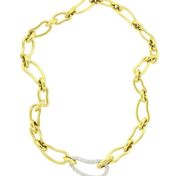Pomellato Paisley Diamond Gold Large Link Necklace