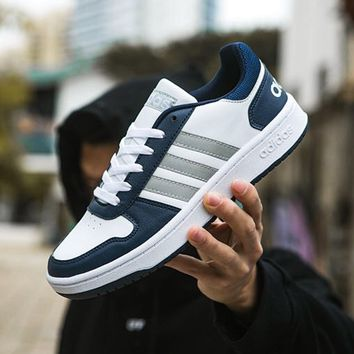 ADIDAS HOOPS 2.0 popular pair of casual matching leather shoes