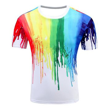 Men's T Shirts Short Sleeve Cotton Rocksir O-Neck Personalized Tshirt 3D Water Printed T Shirt Man T-Shirt Swag Clothes  paint