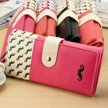 Bags New women wallet smooth PU leather mustache woman purse clutch wallets lady coin purse cards holder Bag = 1931752644