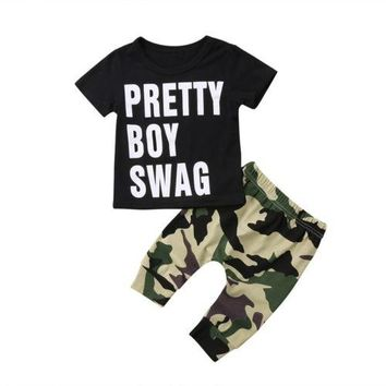 "2pcs Baby Boy Camo Clothes Fashion Set Newborn Kids T-shirt ""pretty boy"""