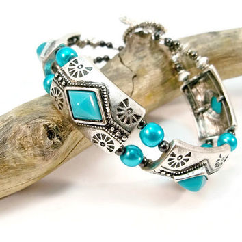 Faux Turquoise and Silver Bracelet, Double Strand, Glass Pearls, Silver Jewelry, Cuff Bracelet, Bangle, 2 Strand Bracelet,