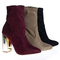 Monet2 By X2B, Gold Metal Plated High Block Heel, Suede Pull On Ankle Booties