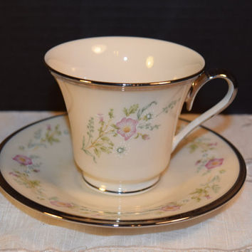 Lenox China Flirtation Cup & Saucer Vintage Lenox Platinum Trim Cup Saucer Set Wedding Dish Lenox Collectible Discontinued China Replacement