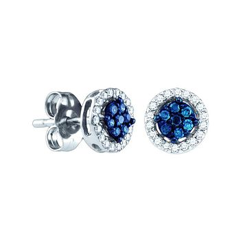 14k White Gold Womens Round Blue Colored Diamond Cluster Stud Screwback Earrings 1/4 Cttw