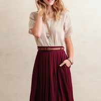 Day Book Pleated Midi Skirt In Burgundy