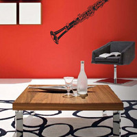 "Orchestral Clarinet Music Vinyl Wall Sticker Decal 30""h x 4""w"