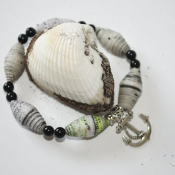 Anchors AwayTreat for Yourself or Your Man, Men's Bracelet, Paper Beads, Stretch, Gift for Man, Summer, Ready to Ship, Hippie, Tribal