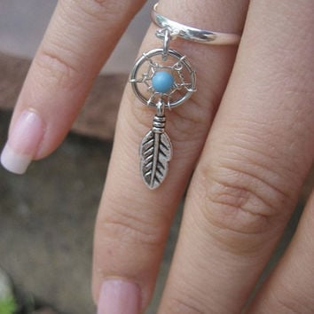 Tiny Dream Catcher Charm Ring- Silver Plated Turquoise Dreamcatcher Feather Adjustable Finger Jewelry Size 5 6 7 8