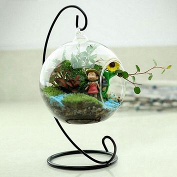 Fairy Garden Miniatures White Black Metal Stand Air Plant Terrarium Planter Hanging Display Garden Home Decoration Accessories