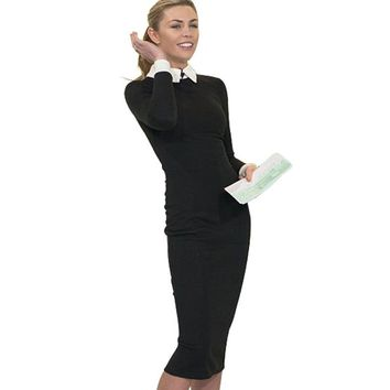Women Formal Bodycon Slimming Business Pencil Dresses Office Ladies Wear to Work Outfit Solid Color Long Sleeve Dress E751