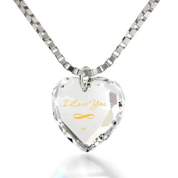 """I Love You Infinity"", 14k White Gold Necklace, Swarovski"